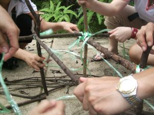 Building a structure outdoors with limited resources