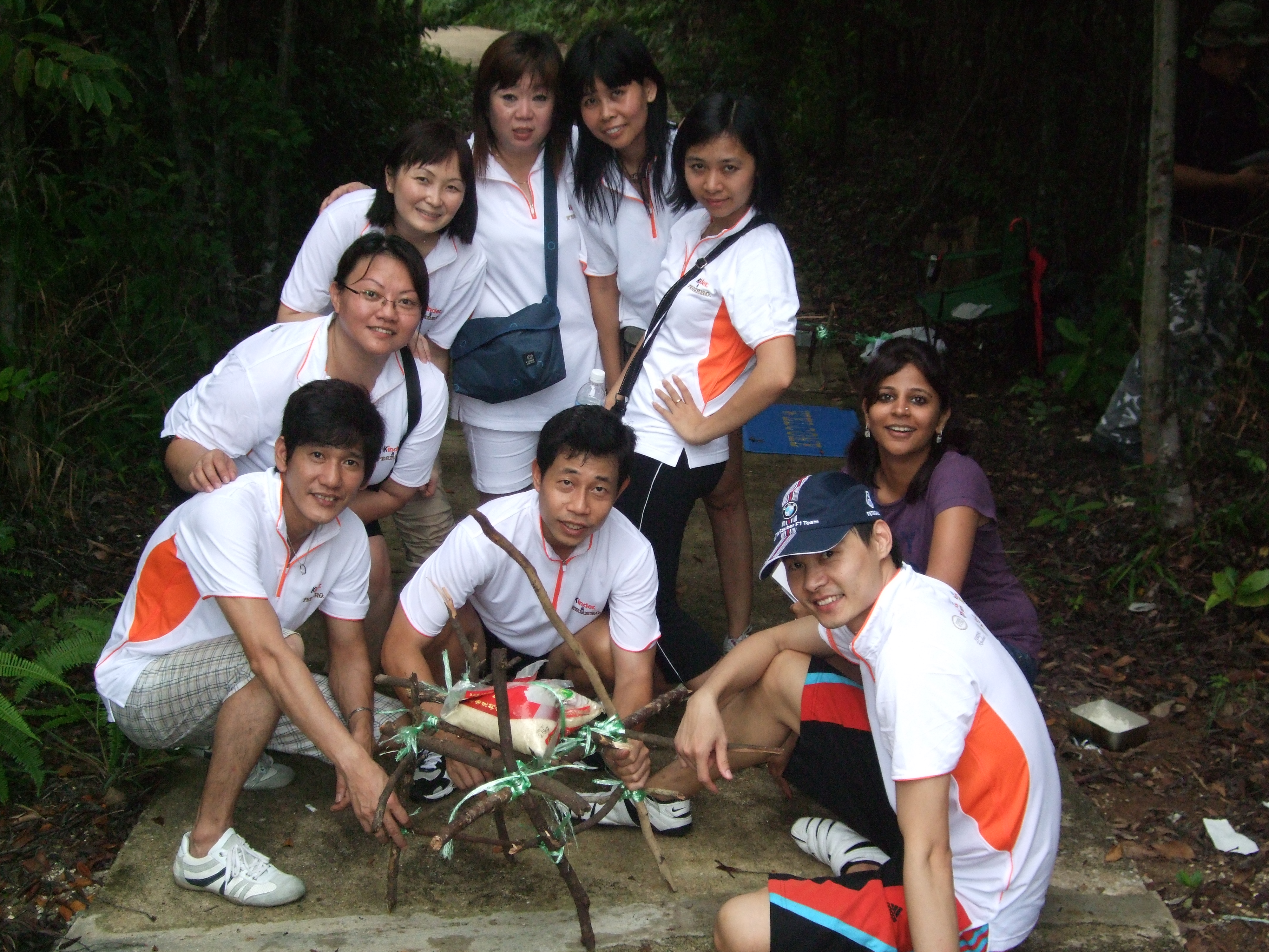 Fire building station for survivor team building activity for corporate groups