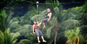 Megazip Adventure park tour zip line high elements rope course fun day