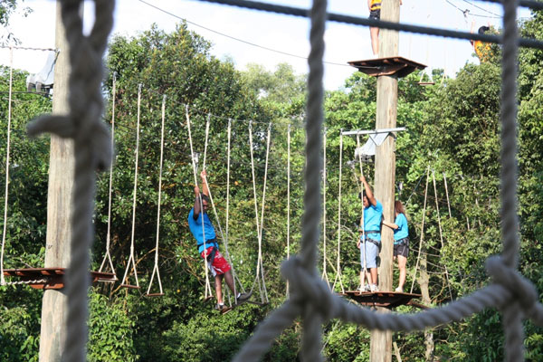 high element course to zip line